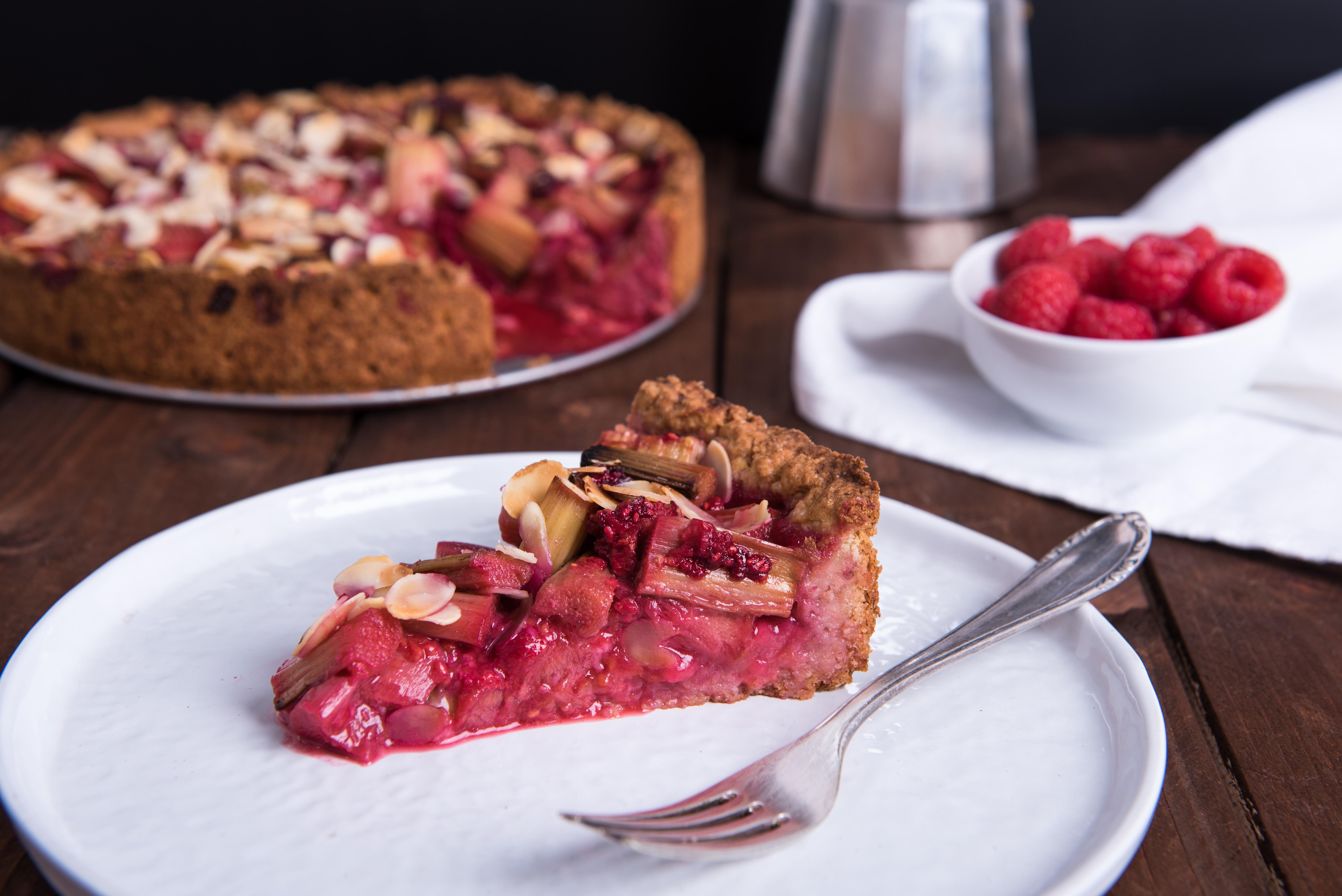 Rhabarber-Himbeer Kuchen